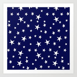 Stars - White on Navy Blue Art Print