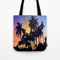 palm tree Tote Bags featuring palm tree by mark ashkenazi