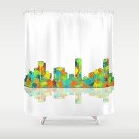 denver Shower Curtains featuring Denver Skyline by Marlene Watson