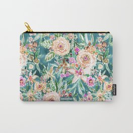 Teal MAUI MINDSET Colorful Tropical Floral Carry-All Pouch