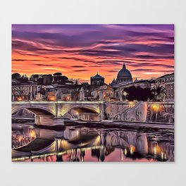 City Sunset Airbrush Artwork Canvas Print