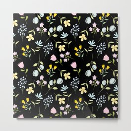 Colorful Tiny Floral - Black background Metal Print