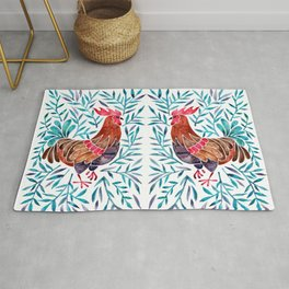 Le Coq – Watercolor Rooster with Turquoise Leaves Rug