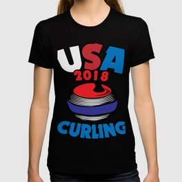 USA 2018 Curling American Curler Winter Sport T-shirt