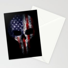 68771afb959 American Flag Punisher Skull Grunge Distress USA Stationery Cards