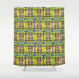 Happy Jester Tiki With Flames Shower Curtain