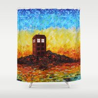 fandom Shower Curtains featuring Tardis at the twilight zone iPhone 4 4s 5 5c 6, pillow case, mugs and tshirt by Three Second