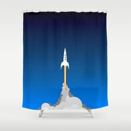 Blast Off! Shower Curtain