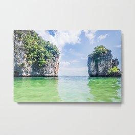 Clear Water and White Limestone Cliffs in Thailand Fine Art Print Metal Print