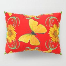 Modern Red Yellow Butterflies Fantasy Sunflowers Pattern Pillow Sham