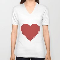 8bit V-neck T-shirts featuring 8bit Love by Matias Demti