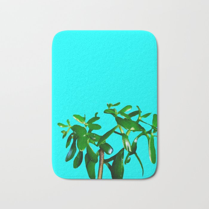 Good Luck Succulent Tree on Sky Blue Bath Mat