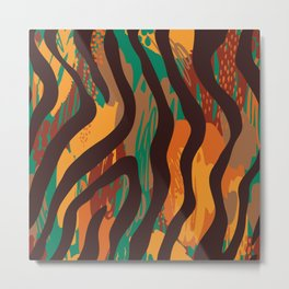Brown orange green geometric ethnic zebra animal print Metal Print