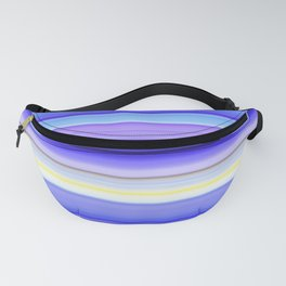 Iris sibirica bright blue white and yellow summer stripes Fanny Pack