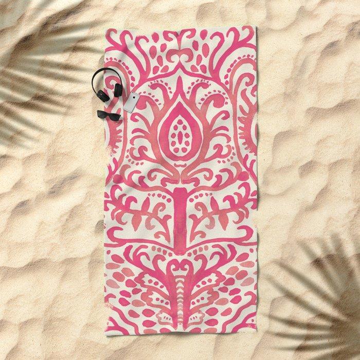 Strawberry and Cream Watercolor Tulip Damask Beach Towel