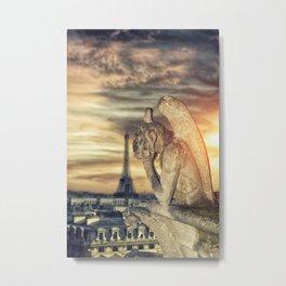 Gargoyle of the Cathedral of Notre Dame de Paris overlooking Paris, France Metal Print