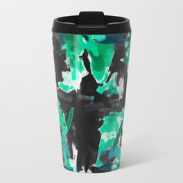 psychedelic vintage camouflage painting texture abstract in green and black Travel Mug