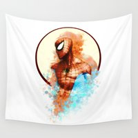 spider man Wall Tapestries featuring Spider-Man by Rene Alberto