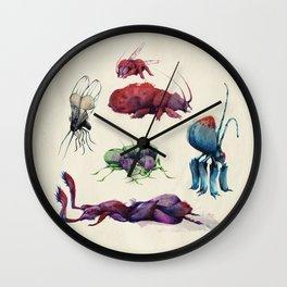 Iridescent Bugs - Set A Wall Clock