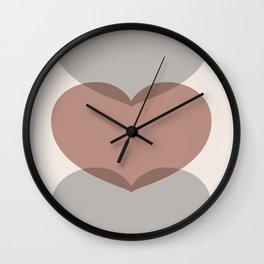 Hearts - Cocoa & Gray Wall Clock