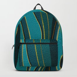 Teal Leather and Gold Sea  Wave Pattern Backpack