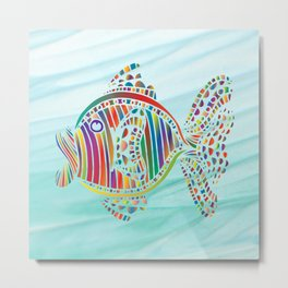 RAINBOW FISH MOSAIC Metal Print