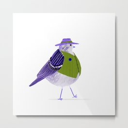 Mr. Fat Bird | Fedora Hat | Green Metal Print