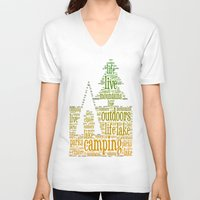 camping V-neck T-shirts featuring Camping by windkist