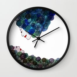Bubble faces blue & purple Wall Clock