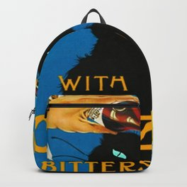 Mix Your Drinks with Catz (Cats) Bitters Aperitif Liquor Vintage Advertising Poster Backpack