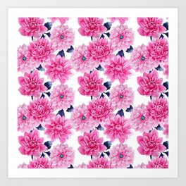 Blush pink hand painted watercolor modern floral pattern Art Print