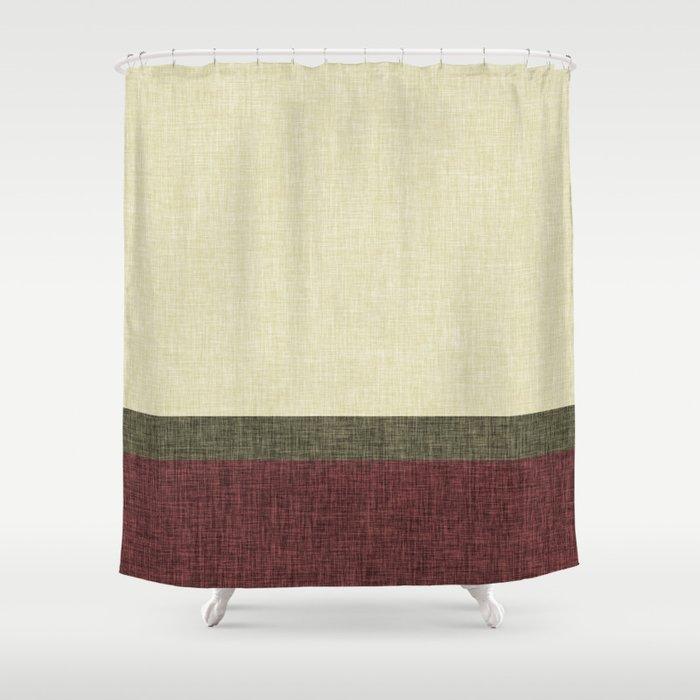 Tri Color Geometric Stripe Olive Green Red Wine Ecru Cream Burlap Print Shower Curtain