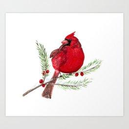 Cardinal Christmas Art Art Print