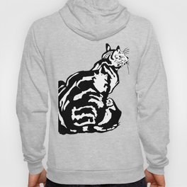 Black And White Seated Tabby Cat Hoody