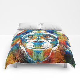 Colorful Chimp Art - Monkey Business - By Sharon Cummings Comforters