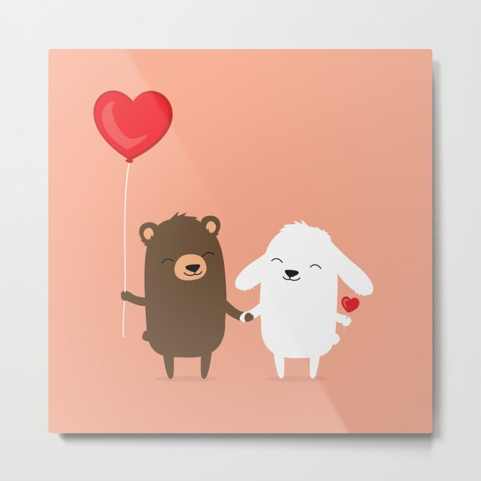 Cute cartoon bear and bunny rabbit holding hands Metal Print