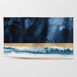 Navy Blue, Gold And White Abstract Watercolor Art Rug