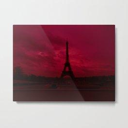 Dramatic Red Sky Eiffel Tower Paris France Metal Print