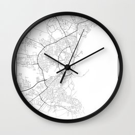 Minimal City Maps - Map Of Aarhus, Denmark. Wall Clock