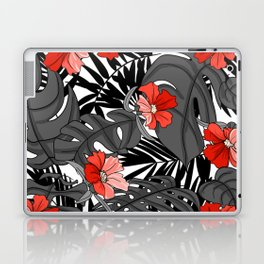Tropical Flower Pattern - Black and White Laptop & iPad Skin