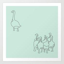 Mama Goose and Goslings Art Print
