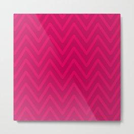 Chevron Wave Vivid Pink Duotone Metal Print