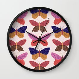 Tattooed Butterflies – Primary Palette Wall Clock
