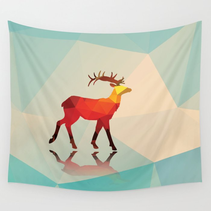 Geometric deer Wall Tapestry