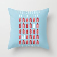 catcher in the rye Throw Pillows featuring The Catcher in the Rye by BaconFactory