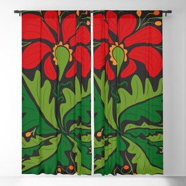 Big Red Dahlia (abstract hand-drawn flower) Blackout Curtain
