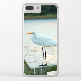 Egret Keeping Watch Clear iPhone Case