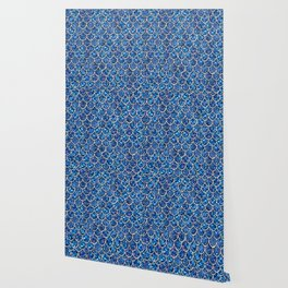 Sparkly Blue & Silver Glitter Mermaid Scales Wallpaper
