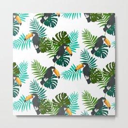 Toucan Bird Tropical Leaves Pattern Metal Print