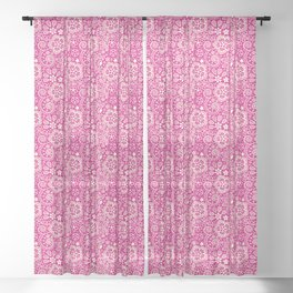 Lace on Pink Sheer Curtain